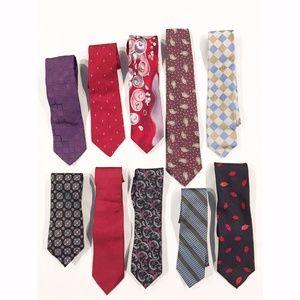 Other - 10 mixed designer silk mens neck tie LOT